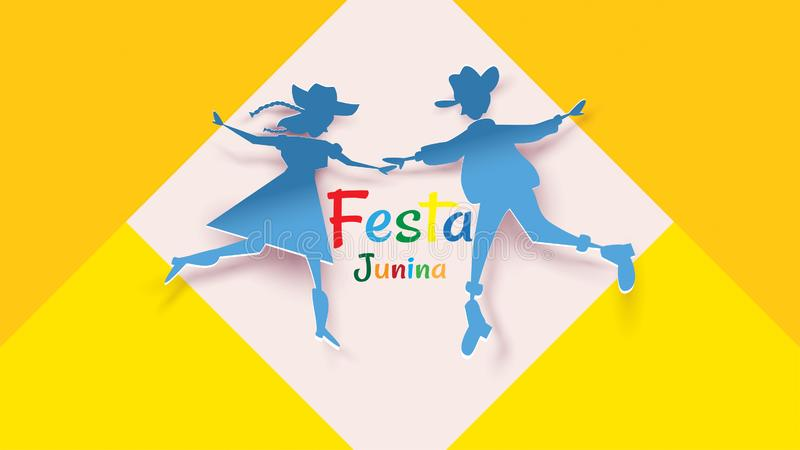Το σχέδιο φεστιβάλ Junina Festa στην τέχνη εγγράφου και το επίπεδο ύφος με τις σημαίες κόμματος και το φανάρι εγγράφου, μπορούν ν απεικόνιση αποθεμάτων