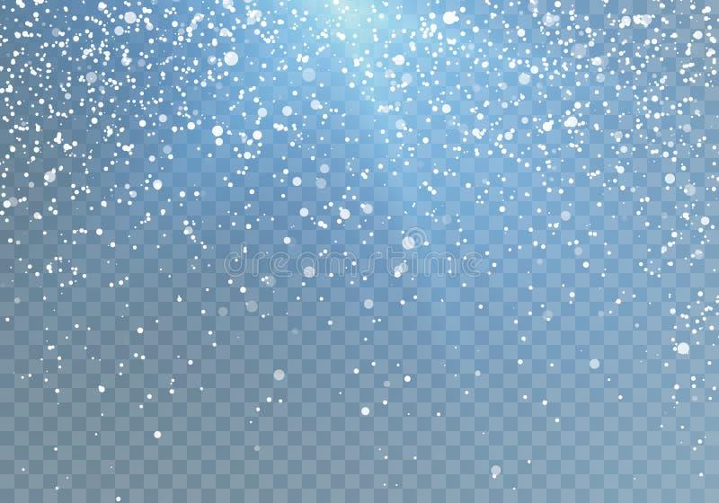 Το σχέδιο χιονοπτώσεων με το μπλε λάμπει μειωμένα snowflakes Διανυσματική απεικόνιση που απομονώνεται στο διαφανές υπόβαθρο ελεύθερη απεικόνιση δικαιώματος
