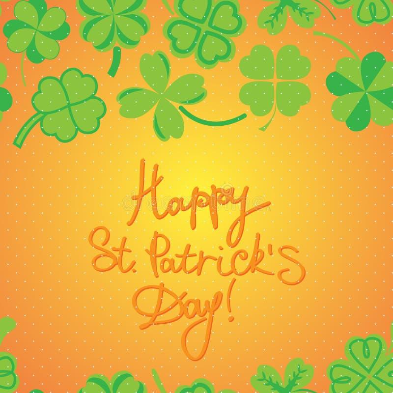 Το σχέδιο ημέρας του ST Patric με το πράσινο τριφύλλι βγάζει φύλλα απεικόνιση αποθεμάτων