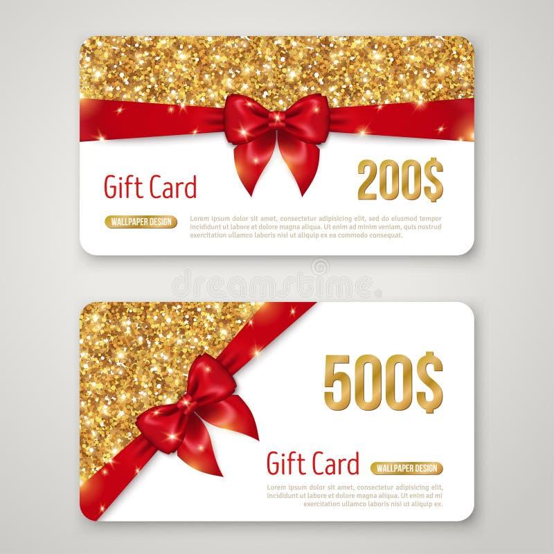 Το σχέδιο καρτών δώρων με το χρυσό ακτινοβολεί σύσταση και κόκκινο απεικόνιση αποθεμάτων