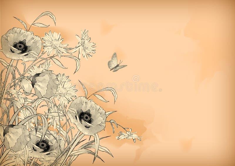 Το σχέδιο μολυβιών Watercolor ανθίζει την πεταλούδα ελεύθερη απεικόνιση δικαιώματος