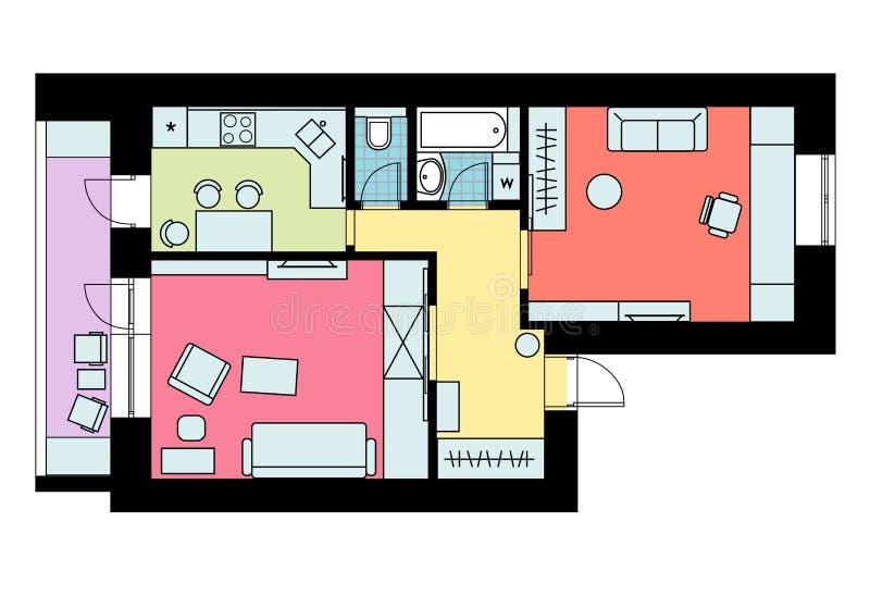 Το σχέδιο της ρύθμισης του one-bedroom διαμερίσματος επίπλων με απεικόνιση αποθεμάτων