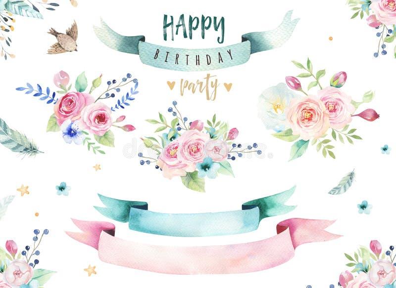 Το σχέδιο χεριών απομόνωσε τη floral απεικόνιση watercolor με τα φύλλα, τους κλάδους, τα λουλούδια και τα φτερά τέχνη Watercolour ελεύθερη απεικόνιση δικαιώματος