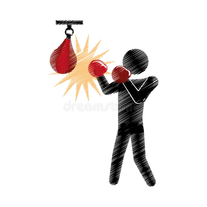 Το σχέδιο χρωμάτισε punching μπόξερ σκιαγραφιών τον αθλητισμό αχλαδιών ελεύθερη απεικόνιση δικαιώματος