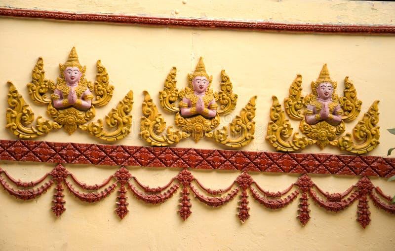 Το σχέδιο sulpture του ναού Saket είναι ένας αρχαίος βουδιστικός ναός σε Vientiane στοκ φωτογραφία με δικαίωμα ελεύθερης χρήσης