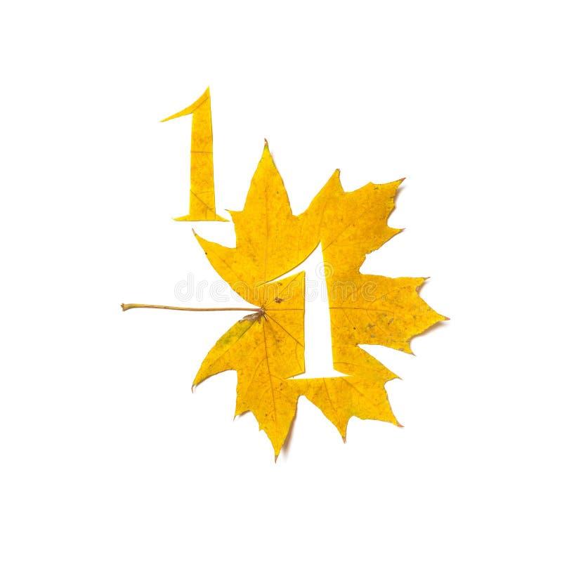 Το σχήμα 1 κόβεται από το κίτρινο φύλλο σφενδάμου απεικόνιση αποθεμάτων