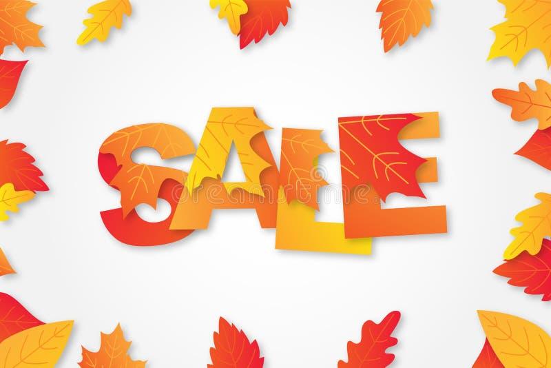 Το σχεδιάγραμμα υποβάθρου πώλησης φθινοπώρου διακοσμεί με τη λέξη στα φύλλα σφενδάμου και τα φύλλα για τις αγορές απεικόνιση αποθεμάτων