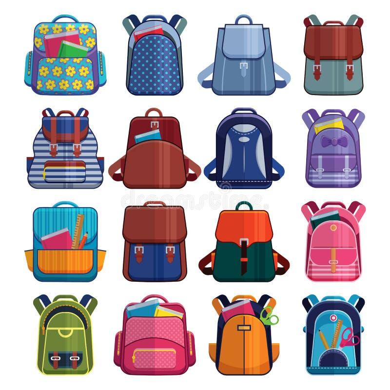 Το σχολείο παιδιών κινούμενων σχεδίων τοποθετεί το σακίδιο πλάτης πίσω στη διανυσματική καθορισμένη απεικόνιση σχολικών σακιδίων  απεικόνιση αποθεμάτων
