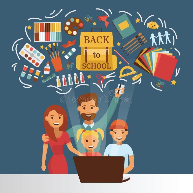 Το σχολείο παρέχει το διανυσματικό εξάρτημα εκπαίδευσης εκπαίδευσης για τον οικογενειακό μπαμπά σκηνικού schoolchilds mom την αγο απεικόνιση αποθεμάτων