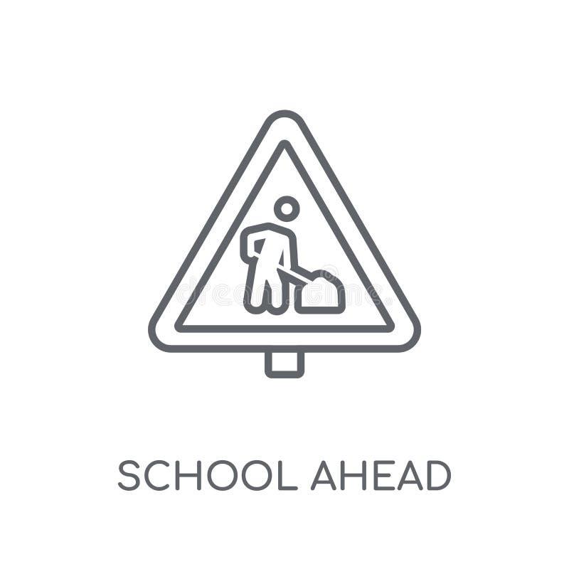 το σχολείο υπογράφει μπροστά το γραμμικό εικονίδιο Το σύγχρονο σχολείο περιλήψεων υπογράφει μπροστά ελεύθερη απεικόνιση δικαιώματος