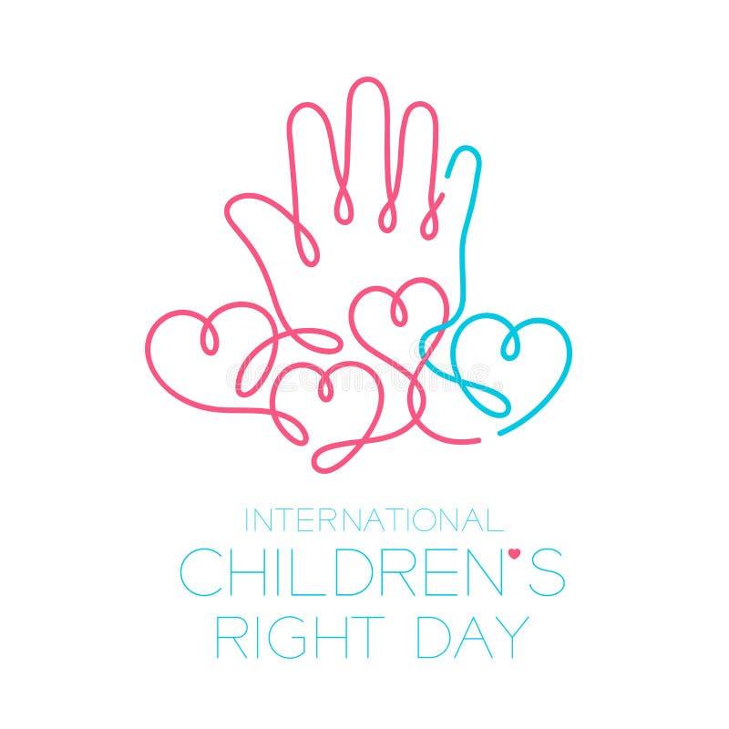 Το σωστό σύνολο, το χέρι και η καρδιά κτυπήματος περιλήψεων εικονιδίων λογότυπων ημέρας των διεθνών παιδιών σχεδιάζουν την απεικό ελεύθερη απεικόνιση δικαιώματος