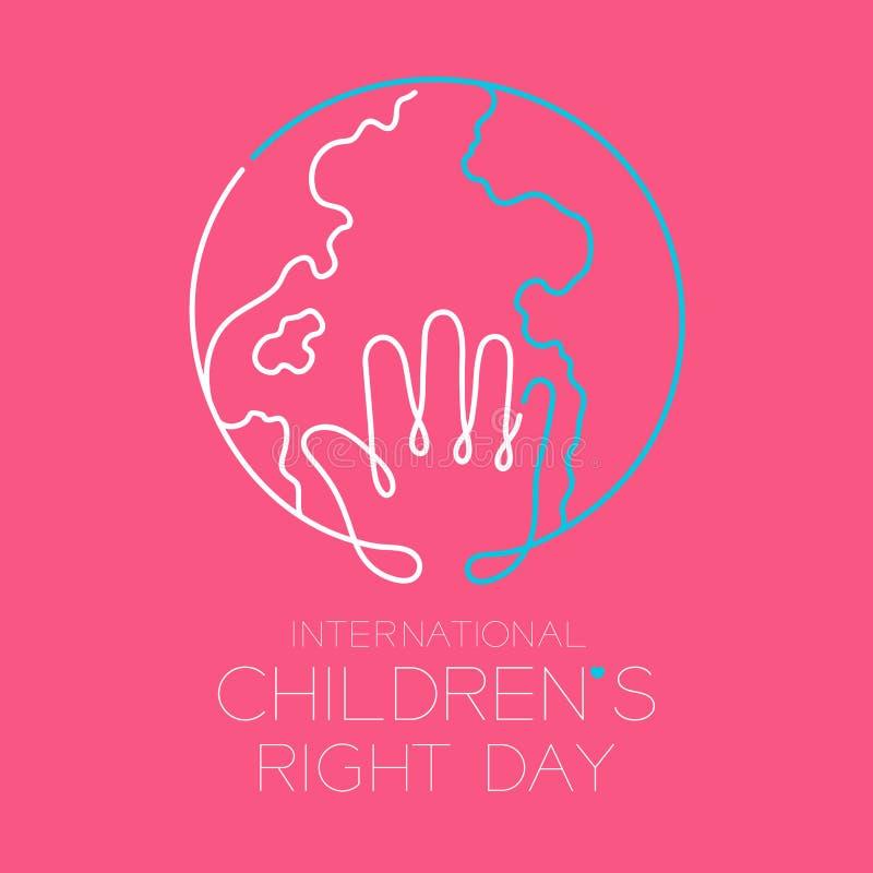 Το σωστό σύνολο, το χέρι και ο κόσμος κτυπήματος περιλήψεων εικονιδίων λογότυπων ημέρας των διεθνών παιδιών σχεδιάζουν την απεικό απεικόνιση αποθεμάτων