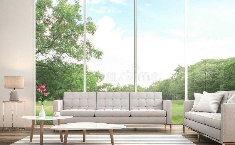Το σύγχρονο άσπρο καθιστικό τρισδιάστατο δίνει Υπάρχει μεγάλο παράθυρο Αγνοεί στο μεγάλο κήπο διανυσματική απεικόνιση
