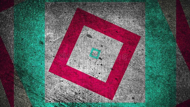 Το σύγχρονο αφηρημένο υπόβαθρο grunge με τα ορθογώνια, γρατσουνισμένη επιφάνεια, τρισδιάστατη δίνει παραγμένο το υπολογιστής σκην στοκ εικόνες
