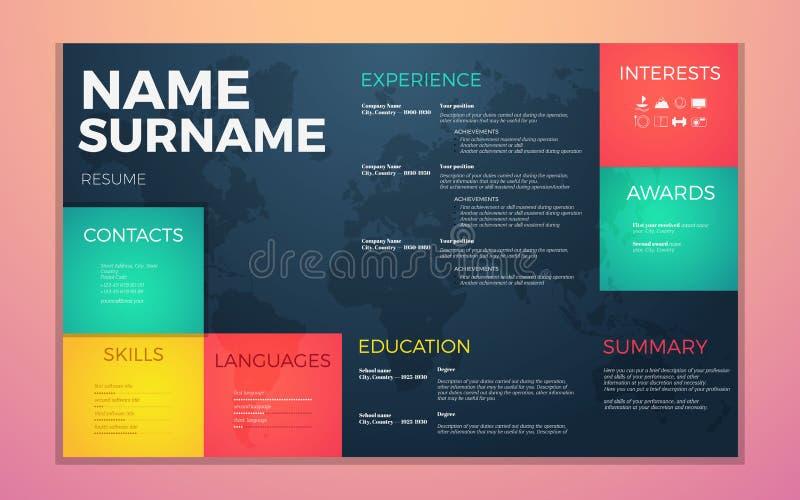 Το σύγχρονο βιογραφικό σημείωμα επαναλαμβάνει το πρότυπο Φωτεινά χρώματα αντίθεσης infographic με το πρόγραμμα σπουδών - ζωή info ελεύθερη απεικόνιση δικαιώματος