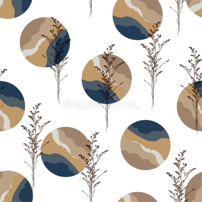 Το σύγχρονο γεωμετρικό μάρμαρο κύκλων με τη σκιαγραφία του βοτανικού άνευ ραφής σχεδίου κανονικού επαναλαμβάνει το σχέδιο για τη  διανυσματική απεικόνιση