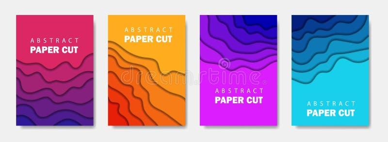 Το σύγχρονο δημιουργικό σύνολο αφισών με ένα τρισδιάστατο αφηρημένο υπόβαθρο και το έγγραφο κόβουν τις μορφές Διανυσματικό σχεδιά απεικόνιση αποθεμάτων