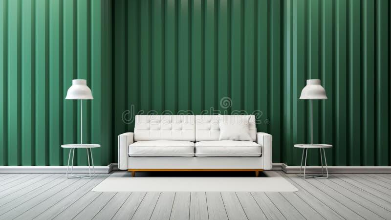 Το σύγχρονο εκλεκτής ποιότητας εσωτερικό σχέδιο καθιστικών, ο άσπροι καναπές και ο λαμπτήρας με τον πράσινο τοίχο το /3d δίνουν απεικόνιση αποθεμάτων