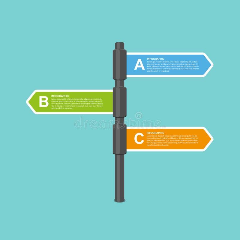 Το σύγχρονο επίπεδο βέλος καθοδηγεί το πρότυπο σχεδίου infographics επιχειρησιακών επιλογών διανυσματική απεικόνιση