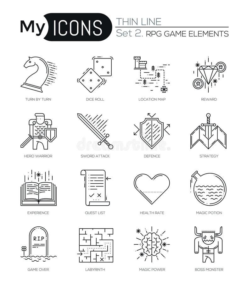 Το σύγχρονο λεπτό σύνολο εικονιδίων γραμμών κλασικού παιχνιδιού αντιτίθεται, κινητά στοιχεία τυχερού παιχνιδιού απεικόνιση αποθεμάτων