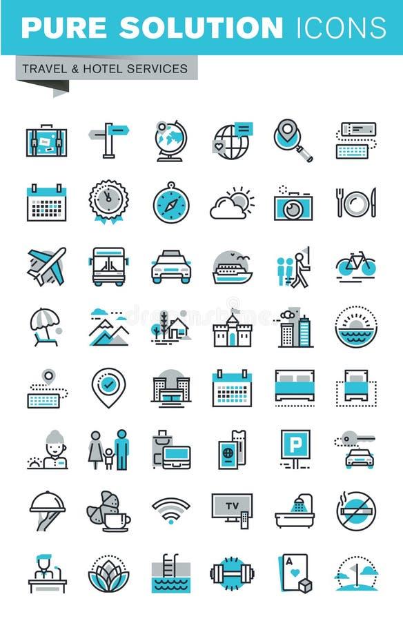 Το σύγχρονο λεπτό σύνολο εικονιδίων σχεδίου γραμμών επίπεδο ταξιδιού και ο τουρισμός υπογράφουν και αντικείμενο ελεύθερη απεικόνιση δικαιώματος