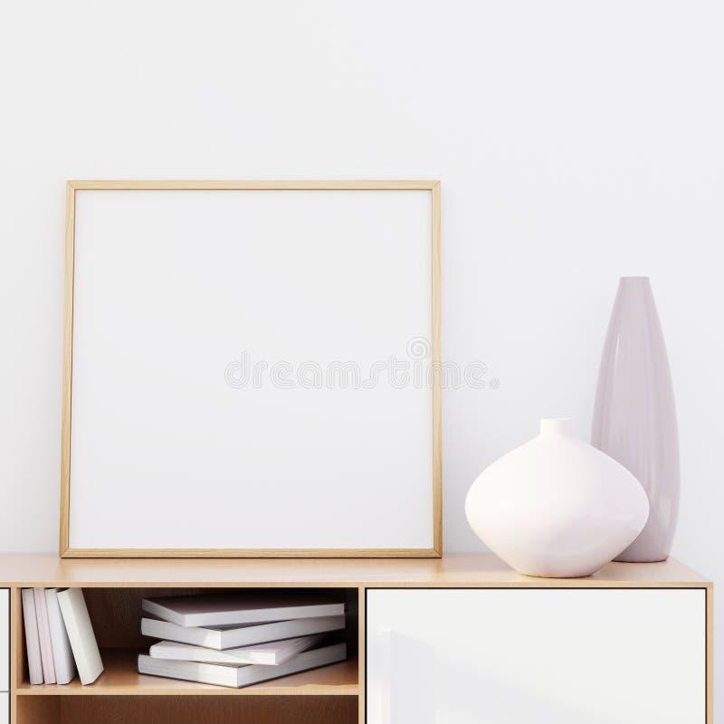 Το σύγχρονο εσωτερικό καθιστικών με ένα ξύλινο κομμό και ένα τετραγωνικό πρότυπο αφισών, τρισδιάστατα δίνει ελεύθερη απεικόνιση δικαιώματος