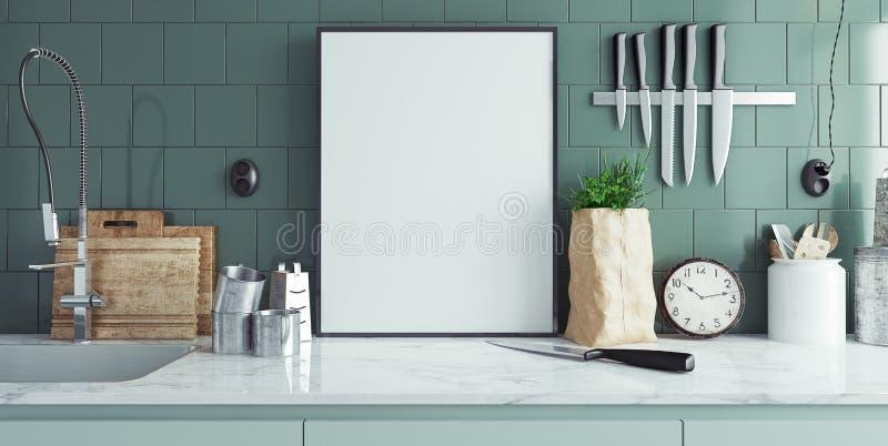 Το σύγχρονο εσωτερικό κουζινών με το κενό έμβλημα, χλευάζει επάνω ελεύθερη απεικόνιση δικαιώματος