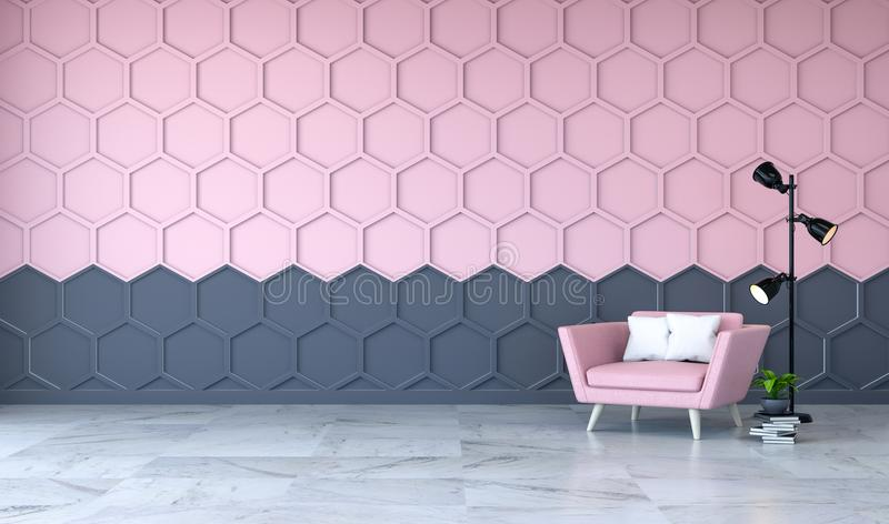 Το σύγχρονο εσωτερικό σχέδιο δωματίων, η ρόδινη πολυθρόνα στο μαρμάρινο δάπεδο και το ροζ με το μαύρο Hexagon τοίχο πλέγματος, τρ ελεύθερη απεικόνιση δικαιώματος