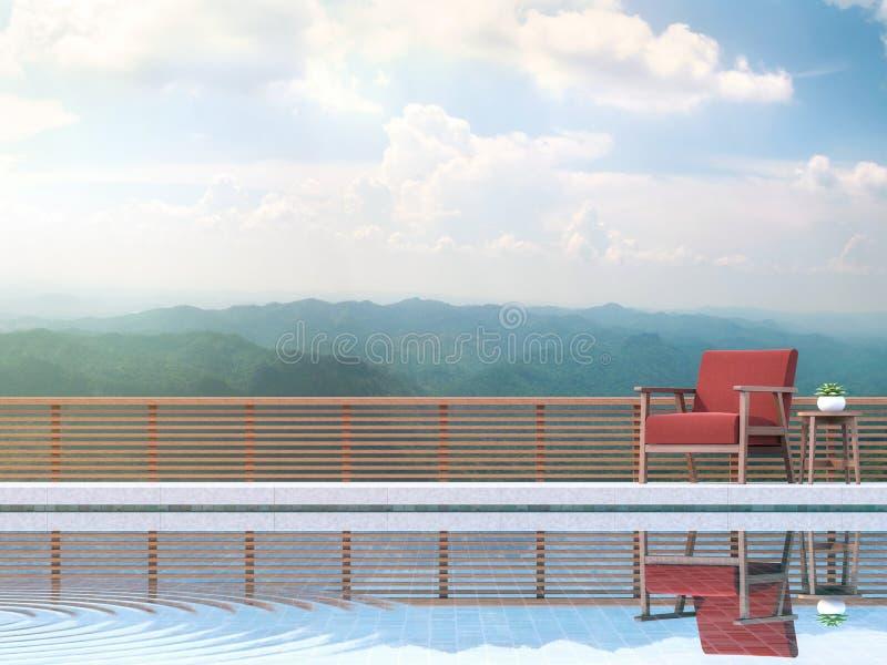 Το σύγχρονο πεζούλι λιμνών με τη θέα βουνού τρισδιάστατη δίνει Εφοδιασμένος με την κόκκινη καρέκλα υφάσματος απεικόνιση αποθεμάτων