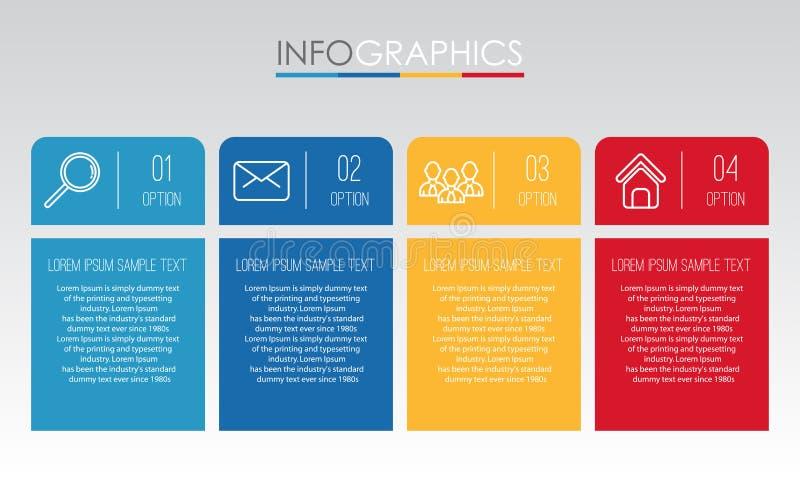 Το σύγχρονο πληροφορία-γραφικό πρότυπο για την επιχείρηση με το πολύχρωμο σχέδιο τεσσάρων βημάτων, ετικέτες σχεδιάζει, διανυσματι ελεύθερη απεικόνιση δικαιώματος