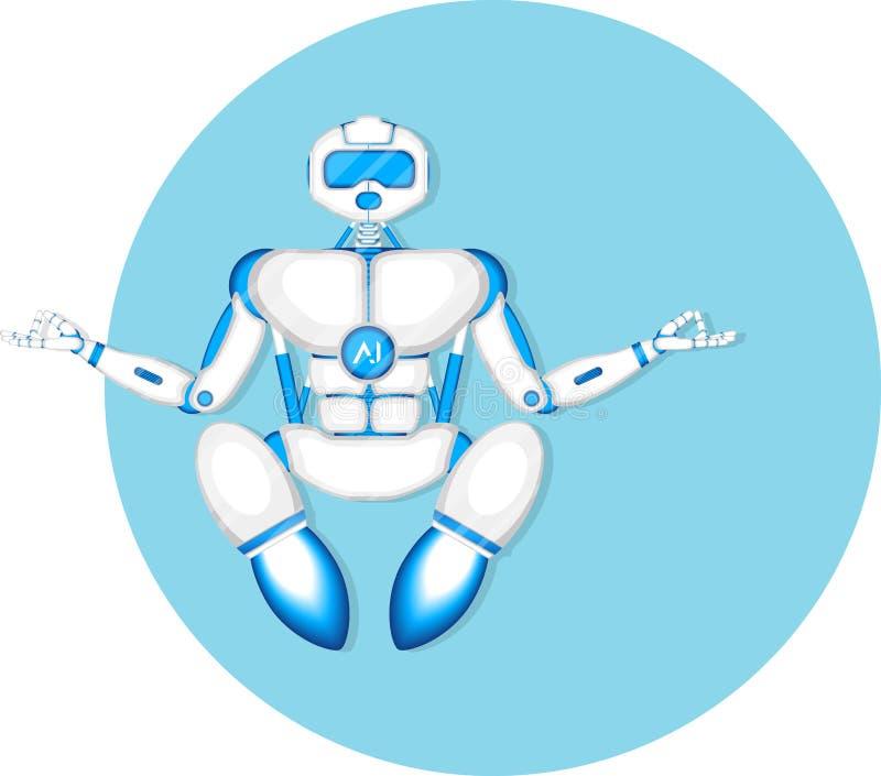 Το σύγχρονο ρομπότ στη γιόγκα περισυλλογής θέτει ελεύθερη απεικόνιση δικαιώματος