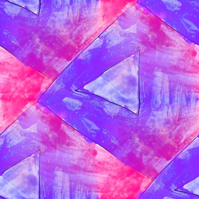 Το σύγχρονο τρίγωνο, μπλε, οδοντώνει την άνευ ραφής ταπετσαρία καλλιτεχνών watercolor διανυσματική απεικόνιση