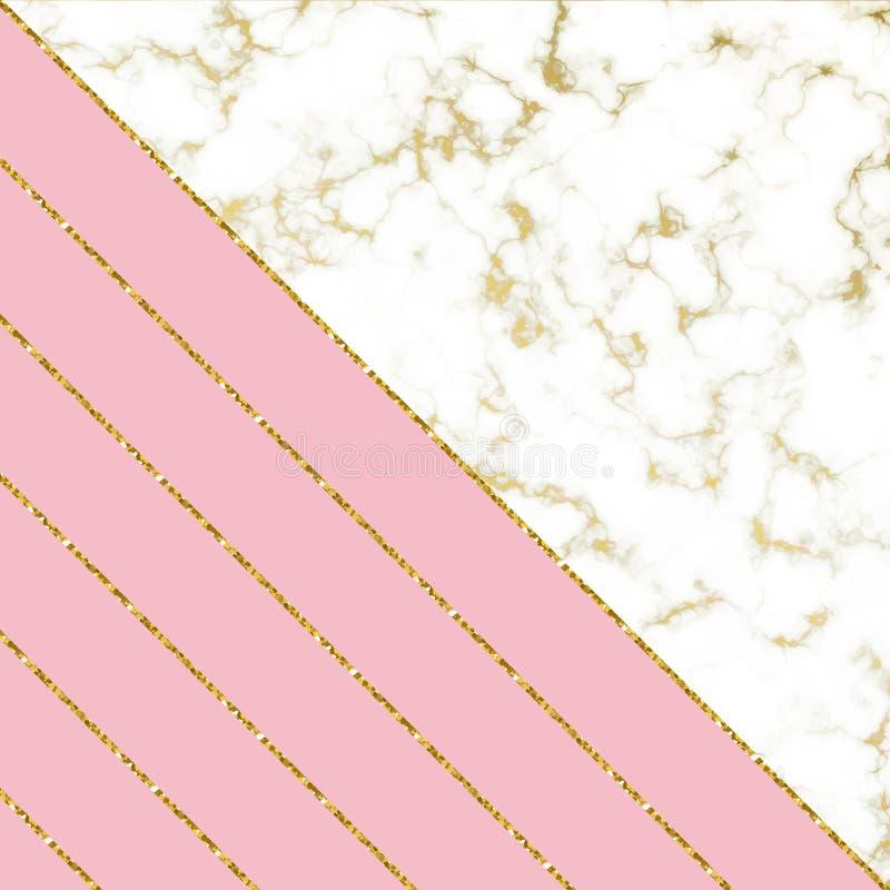 Το σύγχρονο υπόβαθρο με την άσπρα μαρμάρινα σύσταση και το ροζ και ο χρυσός ακτινοβολούν γραμμές Πρότυπο για τα σχέδια διακοπών,  διανυσματική απεικόνιση