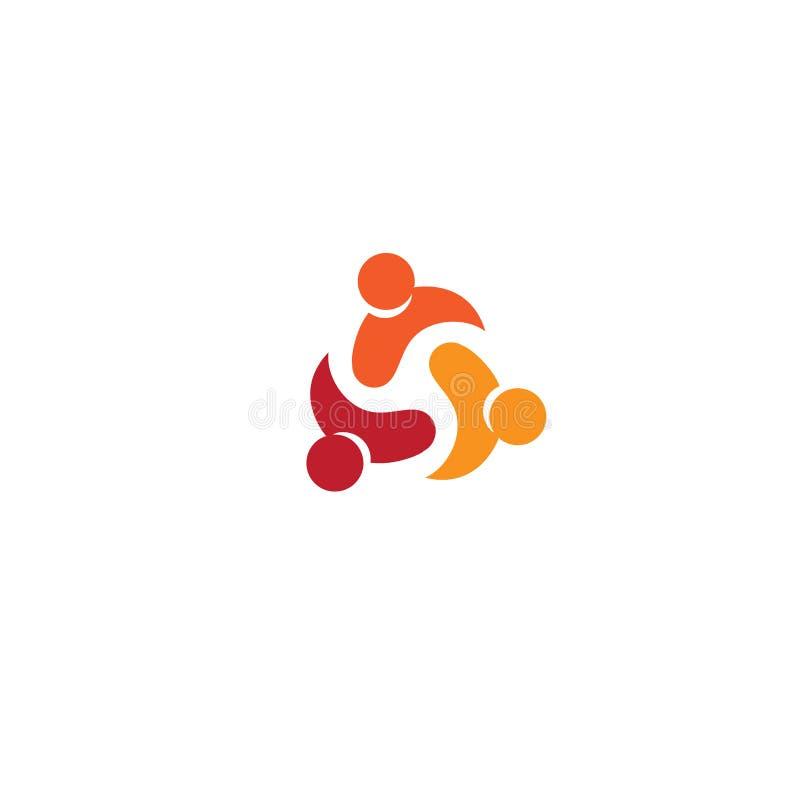 Το σύμβολο ανθρώπων μαζί, ενωμένοι άνθρωποι υπογράφει, αφηρημένο διανυσματικό λογότυπο ομάδας ένωσης στο άσπρο υπόβαθρο απεικόνιση αποθεμάτων