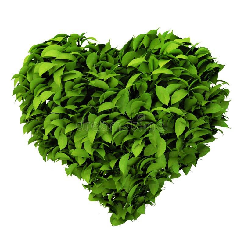 Το σύμβολο καρδιών φιαγμένο από βγάζει φύλλα διανυσματική απεικόνιση