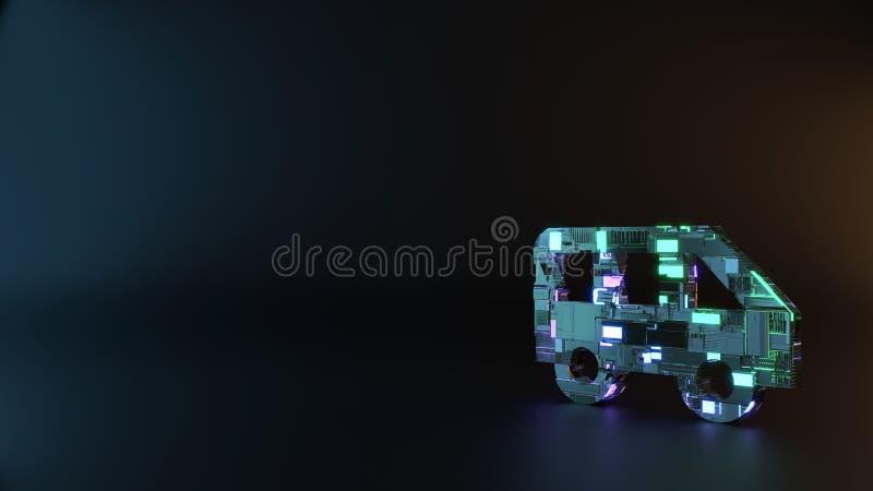 το σύμβολο μετάλλων επιστημονικής φαντασίας της πλάγιας όψης ενός εικονιδίου λεωφορείων δίνει στοκ εικόνες