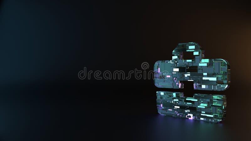το σύμβολο μετάλλων επιστημονικής φαντασίας του εικονιδίου χαρτοφυλάκων δίνει στοκ εικόνες με δικαίωμα ελεύθερης χρήσης
