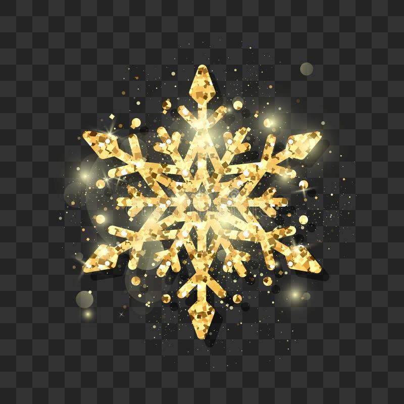 Το σύμβολο της νέας παραμονής έτους και κομψός χρυσός Χριστουγέννων ακτινοβολούν snowflake Αφηρημένο snowflake σχέδιο επίσης core απεικόνιση αποθεμάτων