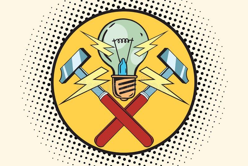 Το σύμβολο του φωτός και των σφυριών, εγχώριες επισκευές απεικόνιση αποθεμάτων