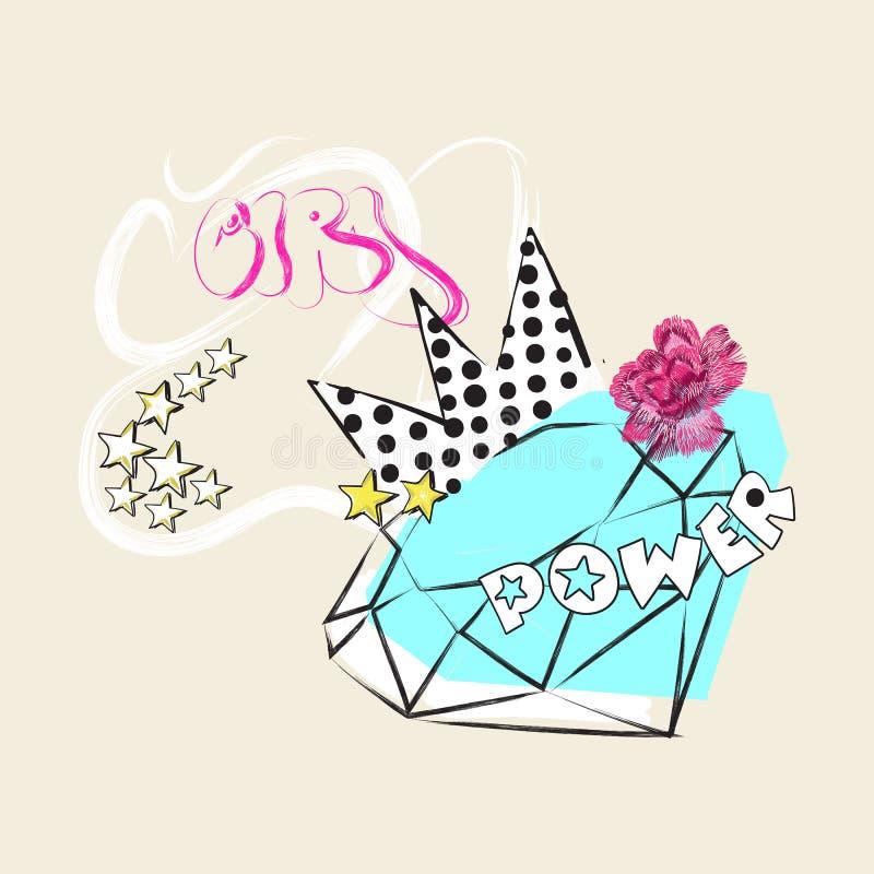 Το σύνθημα δύναμης κοριτσιών με το διαμάντι, κορώνα και αυξήθηκε Διανυσματικό λαϊκό κολάζ τέχνης για την μπλούζα και το τυπωμένο  ελεύθερη απεικόνιση δικαιώματος