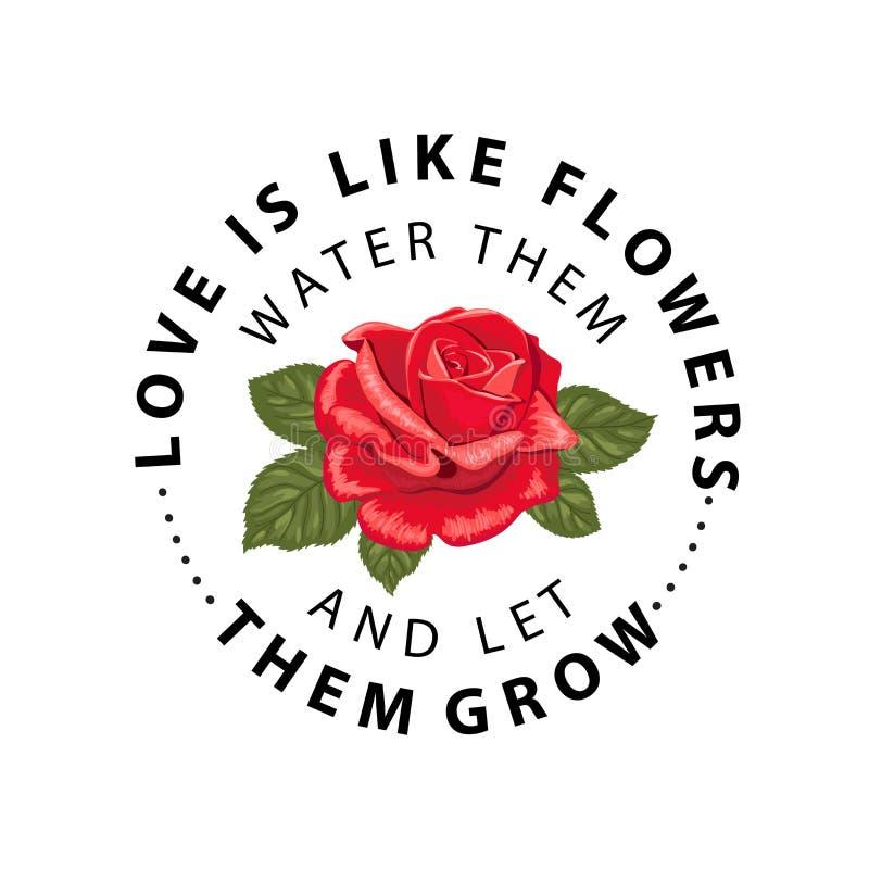 Το σύνθημα τυπογραφίας με το λουλούδι αυξήθηκε Διανυσματική απεικόνιση για τις μπλούζες απεικόνιση αποθεμάτων