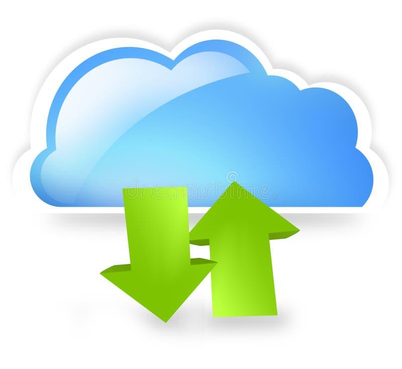 Το σύννεφο επάνω και μεταφορτώνει απεικόνιση αποθεμάτων