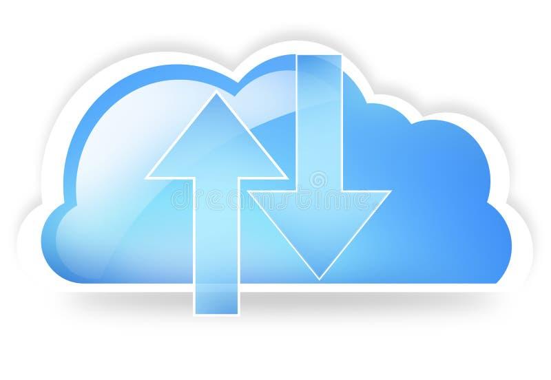 Το σύννεφο επάνω και μεταφορτώνει διανυσματική απεικόνιση
