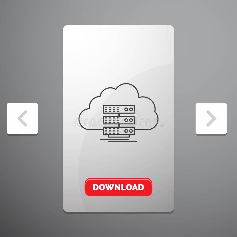 το σύννεφο, η αποθήκευση, ο υπολογισμός, τα στοιχεία, το εικονίδιο γραμμών ροής στο σχέδιο ολισθαινόντων ρυθμιστών σελιδοποιήσεων ελεύθερη απεικόνιση δικαιώματος
