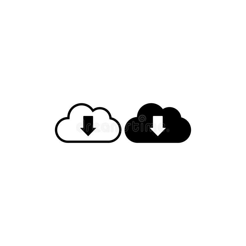 Το σύννεφο μεταφορτώνει το διάνυσμα εικονιδίων απομόνωσε 4 διανυσματική απεικόνιση
