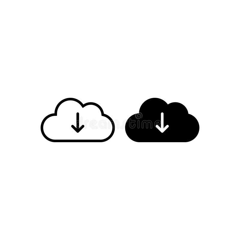 Το σύννεφο μεταφορτώνει το διάνυσμα εικονιδίων απομόνωσε 3 ελεύθερη απεικόνιση δικαιώματος