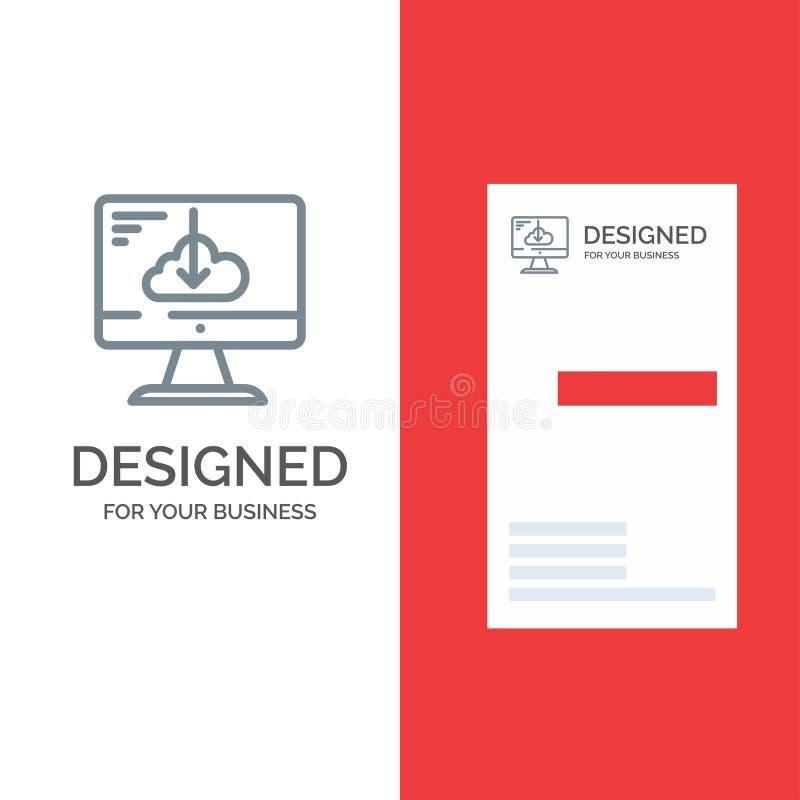 Το σύννεφο, μεταφορτώνει, οδηγός, εγκαθιστά, γκρίζο σχέδιο λογότυπων εγκατάστασης και πρότυπο επαγγελματικών καρτών απεικόνιση αποθεμάτων