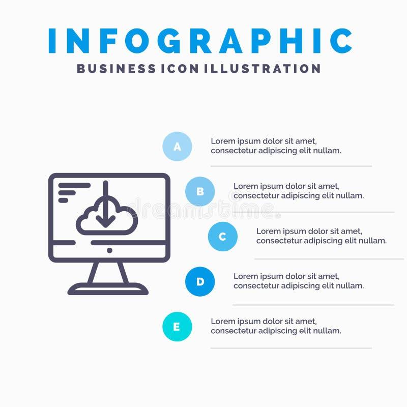 Το σύννεφο, μεταφορτώνει, οδηγός, εγκαθιστά, εικονίδιο γραμμών εγκατάστασης με το υπόβαθρο infographics παρουσίασης 5 βημάτων ελεύθερη απεικόνιση δικαιώματος