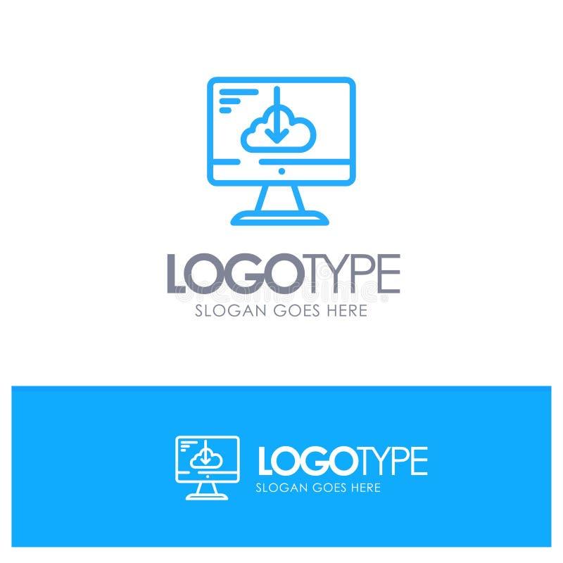 Το σύννεφο, μεταφορτώνει, οδηγός, εγκαθιστά, μπλε λογότυπο περιλήψεων εγκατάστασης με τη θέση για το tagline απεικόνιση αποθεμάτων