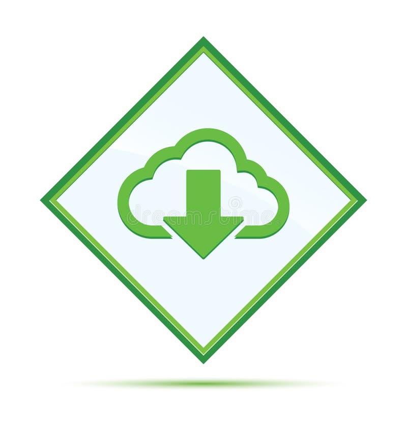Το σύννεφο μεταφορτώνει το σύγχρονο αφηρημένο πράσινο κουμπί διαμαντιών εικονιδίων απεικόνιση αποθεμάτων